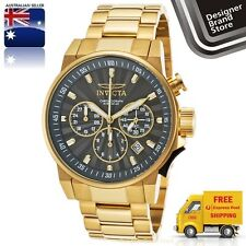 Invicta Mens I-Force Watch 18K Gold Plated Steel Gunmetal Dial Chrono 23089