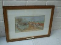 19TH CENTURY WATERCOLOUR HORSE RACING, MY HUSBAND GIVING ME A LEAD DATED, 1885