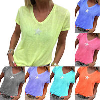 Plus Size Women Short Sleeve V Neck T-Shirt Top Casual Blouse Baggy Tee Summer