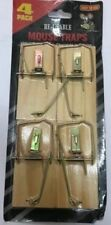 4 PACK EASY TO USE REUSABLE MOUSE TRAPS WOODEN METAL RAT MICE PEST CONTROL TRAP