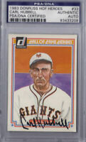 Carl Hubbell Signed 1983 Donruss HOF Heroes - PSA DNA