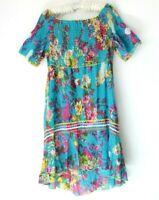 Adrift Size S 8 10 12 Colourful Shift Dress Floral HiLow Frill Hem Blue Pink