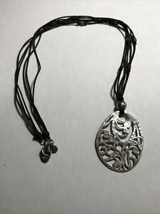 SILPADA Sterling Silver FILIGREE Oval Pendant Necklace~N1805~RETIRED!