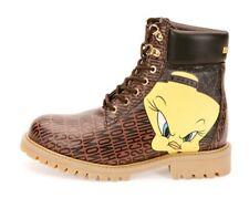 Moschino Looney Tunes Leather Hiking Boots Brown Size uk 6 eu 39