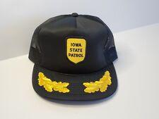 VTG 80s - ISP IOWA STATE PATROL Snapback Trucker Hat Cap Mesh Gold Leaf Patch
