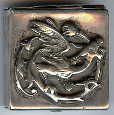 *VINTAGE STERLING SILVER RELIEF DRAGON PILL BOX*