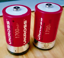 2 Batteries R14 Ni-Cd UNIROSS RECHARGEABLE 1.2V 1700mAh NiCd