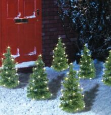 6 x Pre Lit Garden Christmas Tree Path Lights 90 LED Set Lawn Outdoor Decoration