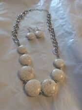 SILVER FIGARO GRADUATED WHITE TURQUOISE NECKLACE AND EARRINGS