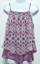 New + Tags! Faded Glory Ladies Purple and White Chiffon Shirt Sz S (4-6)