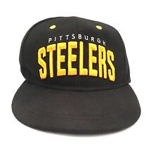 Pittsburgh Steelers NFL Embroidered Spell Out Cap Black Adjustable SnapBack Hat