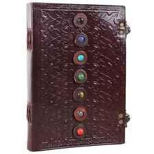 Seven Stone Leather Bound Journal Handmade Chakra Blank Notebook Sketchbook