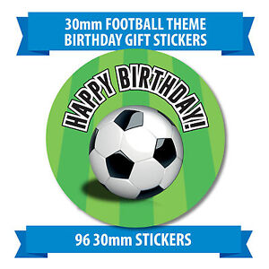 "96 30mm ""HAPPY BIRTHDAY"" children green football stickers"