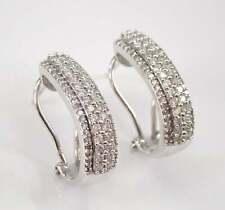 1.50 Ct Round Cut Diamond Omega Back Wedding Hoop Earrings 14K White Gold Finish