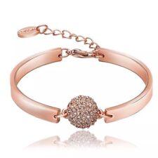AZZURRE Women's 18K Rose Gold Filled Zircon Crystal Ball Ladys Bangle Bracelet