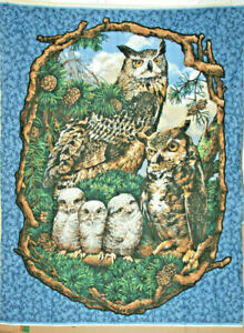 GREAT HORNED OWL PANEL  - 100% COTTON FABRIC