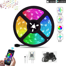 RGB 5050 LED Strip Lights Waterproof Music Bluetooth Controller App Adapter Kit