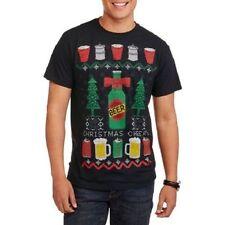 Beer Christmas Sweater shirt mens medium ugly tshirt Funny Cheer new fair isle