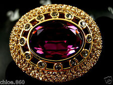 Signed Swarovski Pave' Amethyst~Golden Topaz Crystal Pin ~ Brooch Retired New