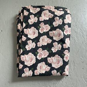 Pottery Barn Teen Marigold Rose Bed FLAT SHEET Black Blush KING Emily Merritt