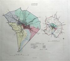 IPSWICH, SUFFOLK, UK, Street Plan, Dawson Original antique map 1832