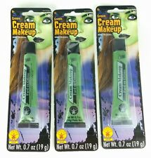 Lot of 3 Tubes Rubie's GREEN Water Washable Cream Makeup Face & Body Paint