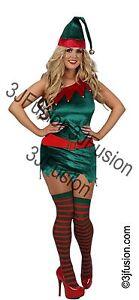 Adult Ladies Christmas Elf Fancy Dress Costume Xmas Santas Helper Outfit