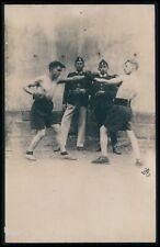 Spain ? boxer men & police Boxing Sports original 1900s Real Photo postcard