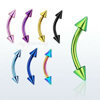 """1PC. 16g, 14g~5/16"""", 3/8"""" Titanium Anodized Steel Spiked Curved Eyebrow Barbell"""
