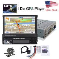 1DIN 7' Bluetooth Car Radio Stereo USB/FM Touch Screen Head Unit GPS Maps Camera
