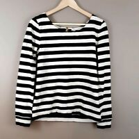 J. Crew Women's Long Sleeve Pullover Top Exposed Back Zipper Striped Size Small
