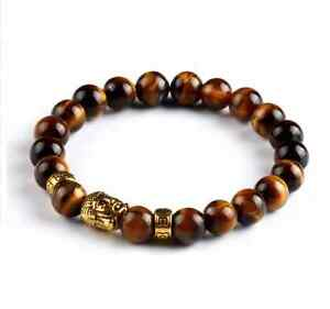 UK. Gold Buddha Tigers Eye Crystal Gemstone Beaded Bracelet.. Reiki