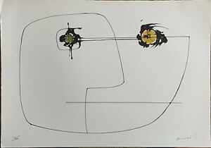 Edgardo Mannucci litografia Maschera Giallo Verde 50x35 firmata numerata 24/100