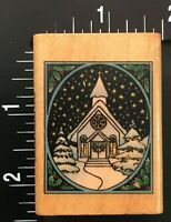 WINTER SNOW SCENE CHURCH FRAME Comotion Wood Mounted Rubber Stamp