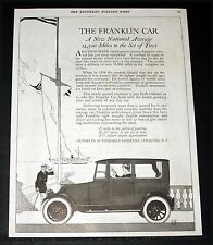 1919 OLD MAGAZINE PRINT AD, NEW FRANKLIN CAR, 14,500 MILES TO A SET OF TIRES!