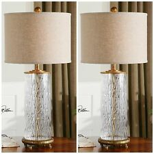 TWO NEW WATER GLASS TABLE LAMPS ANTIQUED GOLD ACCENTS LINEN SHADES READING LIGHT