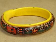 Vintage Soft Puffy Yellow Leather Bangle Bracelet Cats