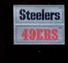 1988 Panini Pittsburgh Steelers San Francisco 49ers  Rare Dual Foil Sticker