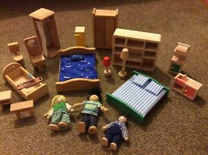 Wooden doll house furniture & dolls Beds Bath Shower Toilet Cupboards Sink Lamp+