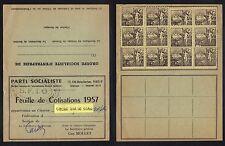 PARTI SOCIALISTE - SFIO - MAISONS ALFORT /1957 FEUILLE DE COTISATION (ref 6224m)