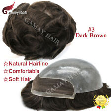 French Lace Front Mens Toupee Lace PU Hairpieces Skin Poly Human Hair Systems #3