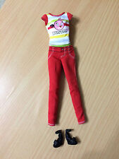 Barbie Doll Love Angry Bird Cap-Sleeve Stripe Top Red Pants Black Sandals Outfit