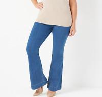 Laurie Felt Petite Silky Denim Flare Pull-On Jeans - Brushed Vintage - Petite L