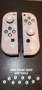 Custom Joy Cons Soft Touch Light Pink With Paws - Colored Buttons and Backplate