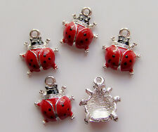 4pz ciondoli coccinella  charms in acciaio smaltato bijoux  16x14mm