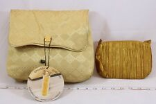 ORGANZA de GIVENCHY Gold & Orange Fabric Makeup Cosmetic Bag Cases Bundle of 2