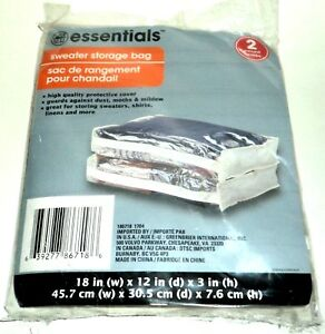 "ESSENTIALS Sweater Storage Bags 18"" (w) x 12"" (d) x 3"" (h) NIP 2 per package"