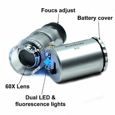 60x Mini Handheld LED Light Glass Pocket Microscope Jeweler Magnifier Lens Loupe