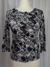 SIZE S - $58.00 RAFAELLA 3/4 Black White & Gray Snakeskin Print Sweater Jacket