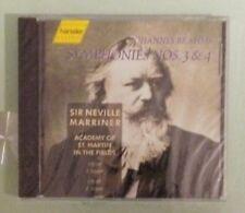 sir neville marriner BRAHMS SYMPHONIES NOS 3 & 4 CD NEW cover cracks bmg edition